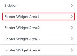 click on footer widget area