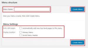 create new menu through wordpress dashboard